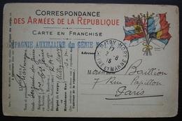 Mitry Mory Compagnie Auxiliaire Du Génie N°1. R.A.T 1915, Inscription  Sur Carte En Franchise Du Sergent Charlemagne - Marcofilie (Brieven)
