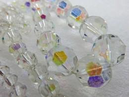 628 - Collier De Perles En Verre/cristal Facetté Irisé - Attache En Laiton - 1940/50 - Colliers/Chaînes