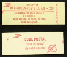 CARNET 2319-C1 10 LIBERTE 2,10F Rouge TB Cote 13€ - Usage Courant