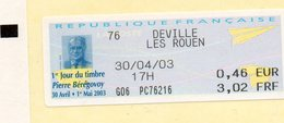 DEVILLE LES ROEN (SEINE MARITIME Vignette LISA 1er Jour Du Timbre Pierre BEREGOVOY - 2000 «Avions En Papier»