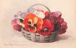 Illustration Illustrateur Klein Catherine Catharina Fleur Fleurs Cpa Pensée Pensées - Klein, Catharina