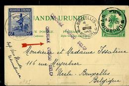 Carte Obl.  N° 25  Obl. Usumbura 20/02/45 Pour Bruxelles 16/03/1945  + Griffe Censure Congo Bege - Entiers Postaux