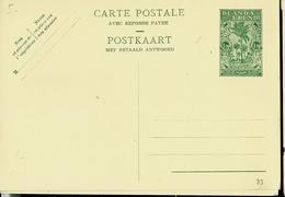 Carte Neuve N° 33. (carte Double)  1,20 + 1,20  Vert Sur Chamois - Entiers Postaux