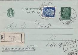 ITALIA - REGNO - PAOLA (COSENZA) - BIGLIETTO POSTALE RACC. C. 25 F.LLI AGGIUNTA - VIAGGIATO PER  PAOLA (CS) - Interi Postali