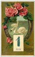 CPA - Gaufrée  - Fer à Cheval  Roses Cygnes - 1er Janvier En Myosotis - Bonne Année - New Year