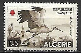 ALGERIE.   1957.    Y&T N° 344 **.     Cigogne  /  Croix-rouge - Neufs