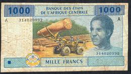 C.A.S. LETTER A For GABON GABON P407Aa 1000  FRANCS 2002 Signature 5  ( FIRST ! )  FINE - États D'Afrique Centrale