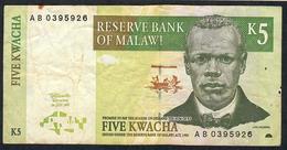 MALAWI P36a 5 KWACHA  1.7.1997 #AB      FINE Folds NO P.h. - Malawi