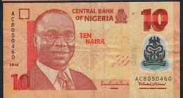 NIGERIA P39i 10 NAIRA 2014 Prefix AC   VF No P.h. ! - Nigeria