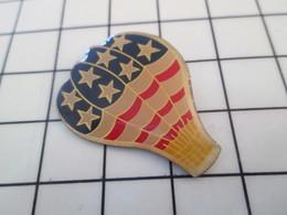 416c Pin's Pins / Beau Et Rare / THEME : MONTGOLFIERES / BALLON LIBRE AUX COULEURS USA - Montgolfières