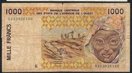 W.A.S. P711Kb 1000 FRANCS (19)92 VG - Westafrikanischer Staaten