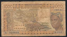 W.A.S. P107Ai  1000 FRANCS  1989 #L.020  VG-F - Westafrikanischer Staaten
