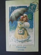 Petite Fille élégante Avec Un Manchon Et Un Parapluie, Portant Des Lettres Sous La Neige - Gaufrée - Série 631 - Children