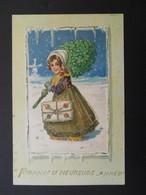 Petite Fille élégante Portant Des Lettres Et Des Trèfles Sous La Neige - Gaufrée - Série 620 - Children