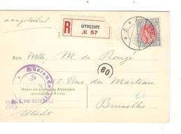 REF1203/ Holland Registered PK C.Utrecht 1916 Censored > Brussels Belgium - Marcophilie