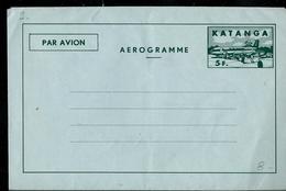 Aérogramme Neuf N° 3  (5 Fr  + Avion) - Katanga