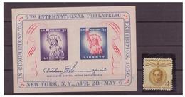 STATI UNITI 1956 E 1958 - ESPOSIZIONE FILATELICA NEW YORK (MH*) E SIMON BOLIVAR (MNH**). CON DIFETTI. - Hojas Bloque
