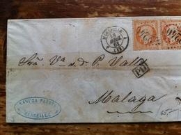 Lettre Avec Une Paire Du Nr 23 Pour Malaga 1863 A Voire...etat Moyen - 1849-1876: Classic Period