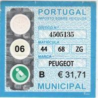 Portugal , 2006 , Car Revenue Stamp , 31,71 €  Tax - Fiscaux