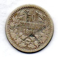 BULGARIA, 50 Stotinki, Silver, Year 1891, KM #12 - Bulgarien