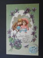Enfants Avec Bouquets De Myosotis Dans Gros Oeuf Cassé, Violettes - Gaufrée - Série 327 - Children