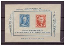 STATI UNITI 1947 -ESPOSIZIONE FILATELICA DI NEW YORK E CENTENARIO FRANCOBOLLO STATUNITENSE. PIEGHE E ADERENZE. MNH** - Hojas Bloque