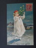 Petite Fille Portant Un Petit Sapin Et Une Bougie La Nuit - A Joyful Christmas To You - Gaufrée - Children