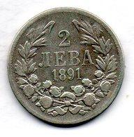 BULGARIA, 2 Leva, Silver, Year 1891, KM #14 - Bulgarien