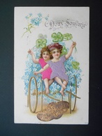 Enfants Assis Dans Une Charrette Dorée Pleine De Myosotis Et Trèfles  - Gaufrée - Série 3446 - Children