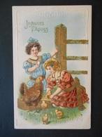 Petites Filles élégantes Avec Poule Et Poussins Dans Un Pré - Dorure - Gaufrée - Série 340 - Children