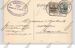 BELGIE - 1916, Michel P6 Mit Zusatzfrankatur, Postüberwachung Gent - Stamped Stationery