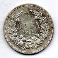 BULGARIA, 5 Leva, Silver, Year 1892, KM #15 - Bulgarien
