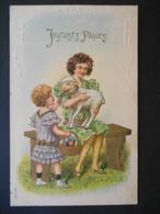 Petite Fille élégantes Assise Sur Banc Avec Mouton, Petite Fille Avec Panier D'oeufs - Dorure - Gaufrée - Série 340 - Children
