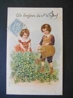 Enfant Jardinier Arrosant Des Trèfles Et Petite Fille Cueillant Du Trèfle - Dorure - Gaufrée - Série 261 - Children