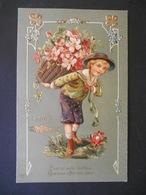 Petit Garçon élégant Portant Une Hotte Pleine D'églantines Poisson Doré - Dorure - Gaufrée - Children