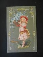 Petite Fille élégante Portant Un Panier Plein De Myosotis, Poisson Doré - Dorure - Gaufrée - Children