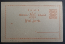 Württemberg 1873, Postkarte P13a/01 Ungebraucht - Wuerttemberg