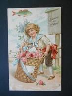 Petit Garçon Avec Panier Plein De Roses Dans Paysage Campagne, Poisson - Gaufrée - Série 971 - Children
