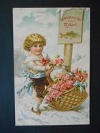 Petit Garçon Portant Panier Plein De Roses Dans Paysage De Neige, Poisson - Gaufrée - Série 971 - Children