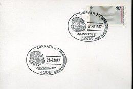 54591 Germany Special Postmark Erkrath 1987  Neandertal Man  Prehistory, Homme Neandertal - Préhistoire