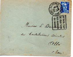 France : Oblitération Daguin Sur Enveloppe Entière De Saint Paul Cap De Joux, Tarn 1954 - Sellado Mecánica (Otros)