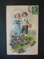 Enfants élégants Avec Bouquets De Violettes Et De Myosotis Dans Un Pré Avec Des Violettes - Gaufrée - Série 7877 - Children