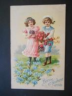 Enfants élégants Avec Bouquets De Roses Et De Violettes Dans Un Pré Avec Des Myosotis - Gaufrée - Série 7877 - Children
