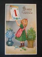 Petite Fille Enlevant Feuille D'un Calendrier, Panier De Trèfles Et Vase De Myosotis - Gaufrée - Série 285 - Children