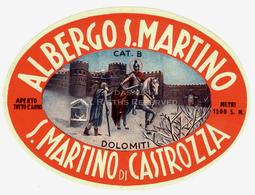 LOT004 - Vintage Hotel Label Luggage Albergo San Martino Di Castrozza Dolomiti Italy - Etiquettes D'hotels