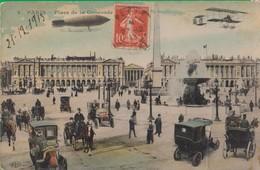 PARIS. PARIGI. Place De La Concorde. Auto.  Voiture. Avion. Dirigeable. Macchina. Aereo. Dirigibile. 7fr - Other