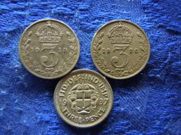 GREAT BRITAIN 3 PENCE 1919 KM813, 1920 KM813a, 1937 KM848 - 1902-1971 : Monnaies Post-Victoriennes