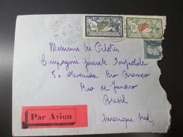 Lettre De Poste Aerienne 1928 Avec 2 Timbres Merson  5et 10 Francs . Pour Le Bresil . Beaux Cachet - Poste Aérienne
