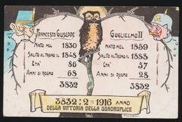 FRANCESCO GIUSEPPE / GUGLIELMO II - 3832 : 2 = 1916 ANNO  DELLA VITTORIA DELLA QUADRUPLICE - War 1914-18