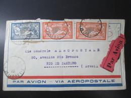 Lettre  Pour Le Bresil . Par Avion  .3 Timbres Merson  .1928 . Beaux Cachets - Angola